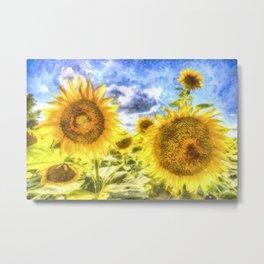 Summer Day Sunflowers Art Metal Print
