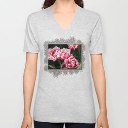Double Late Peony-Flowered Tulip named Horizon Unisex V-Neck