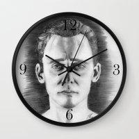 tom hiddleston Wall Clocks featuring Tom Hiddleston by LilKure