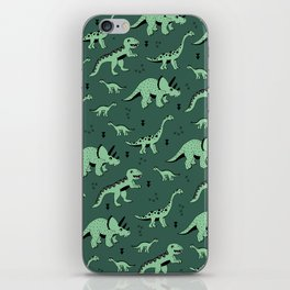 Dinosaur jungle love quirky creatures illustration iPhone Skin