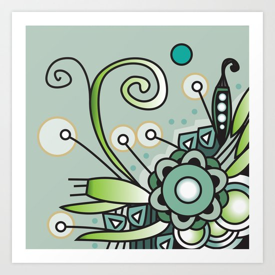 Ornate square zentangle, Jade Color Art Print