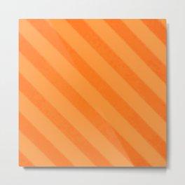 Vintage Candy Stripe Tangerine Orange Grunge Metal Print