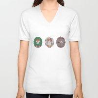 shiba inu V-neck T-shirts featuring Inu by Corinna Schlachter