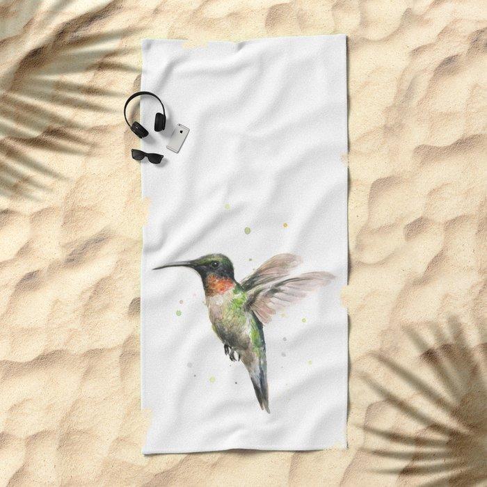 Hummingbird Watercolor Bird Animal Ruby Throated Beach Towel