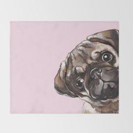 Sneaky Melancholic Pug in Pink Throw Blanket