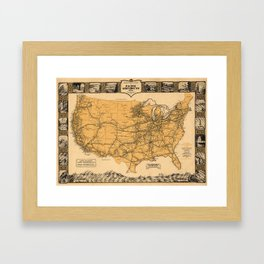 Greyhound Bus Line Map 1935 Framed Art Print