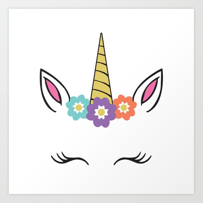Unicorn Face Flowers Eyelashes Horn Ears Art Print By