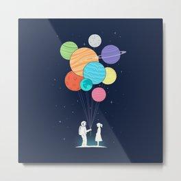 Planets Balloons Metal Print