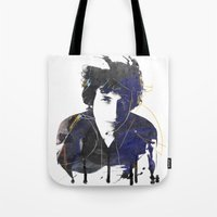 bob dylan Tote Bags featuring bob dylan by manish mansinh