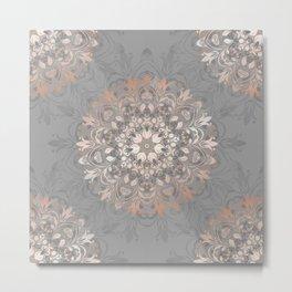 Rose Gold Gray Floral Mandala Metal Print