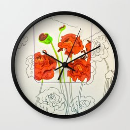 Perspective on Flowers Wall Clock