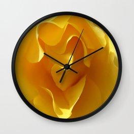 Yellow Rose Ruffles Abstract Wall Clock