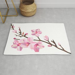 Geometric Japanese Sakura - Cherry Blossoms on White Background Rug