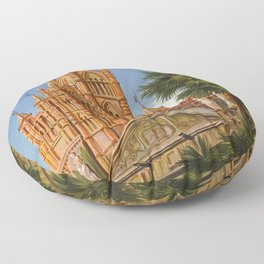 vintage Palermo Sicily Italian travel ad Floor Pillow