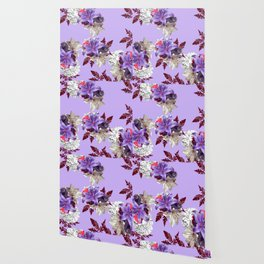 LILY PURPLE LILIES AND WHITE HYDRANGEAS Wallpaper