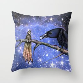 Sacred silence is a pearl of light in the crow's mouth. Throw Pillow