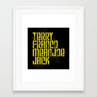 steelers Framed Art Prints featuring Terry Franco Mean Joe Jack / Black by Brian Walker
