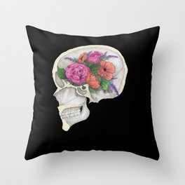 Floral Skull Throw Pillow