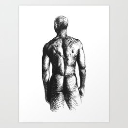 MALE NUDE INK DRAWING Art Print