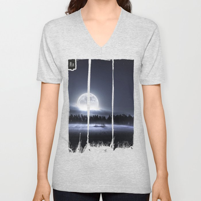 When the moon wakes up Unisex V-Neck