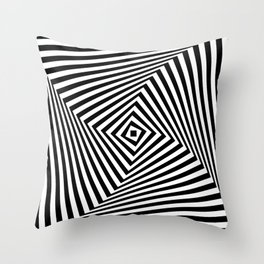 Op art rotating square in black and white Throw Pillow