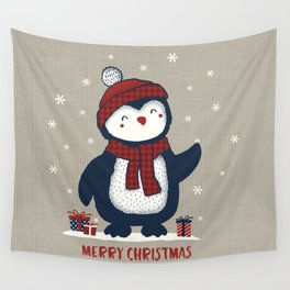 Merry Christmas Penguin Wall Tapestry