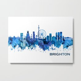 Brighton England Skyline Blue Metal Print