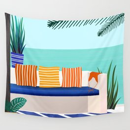 Tropical Villa On The Sea Wall Tapestry