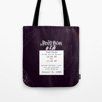 haunted mansion Tote Bags featuring Haunted Mansion Fastpass by margybear
