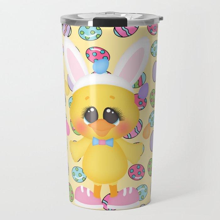 Easter Chick with Bunny Ears Travel Mug