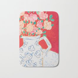 Delft Bird Pitcher on Red Background Bath Mat