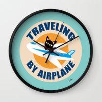 airplane Wall Clocks featuring Airplane by BATKEI (Keiko W)
