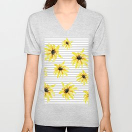 Bright Yellow Daisies on Stripes Unisex V-Neck