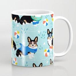 Tri Corgi Pool Party Dog Print beach ball summer pool Coffee Mug
