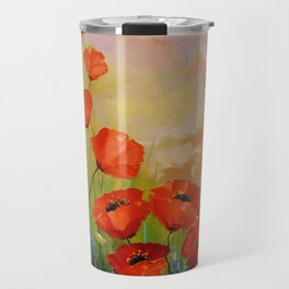 Poppies in the moonlight Travel Mug