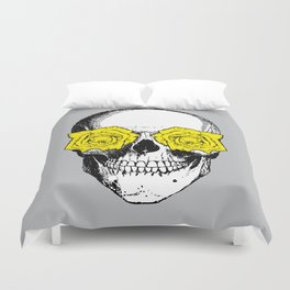 Skull and Roses | Grey and Yellow Duvet Cover