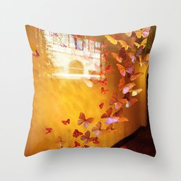 Butterflies in Window Throw Pillow