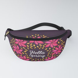 Hello Spring Watercolor Flowers Wreath Fanny Pack