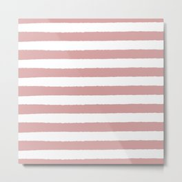 Mauve and white stripes - classy college student collection Metal Print