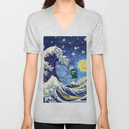 flying tardis in starry night Unisex V-Neck