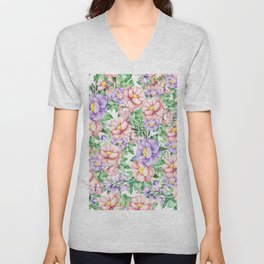 Hand painted lavender coral green watercolor floral Unisex V-Neck