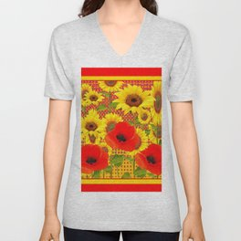 RED POPPIES YELLOW SUNFLOWERS RED PATTERN ART Unisex V-Neck