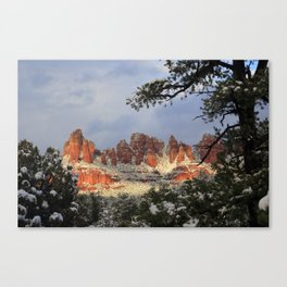 Red Rocks and Snow Canvas Print