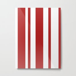 Mixed Vertical Stripes - White and Firebrick Red Metal Print