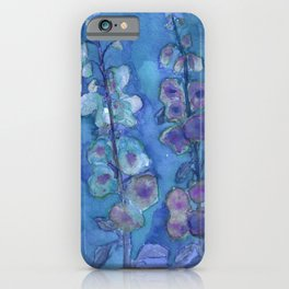 Blue Hollyhock Foxglove Minimalist Watercolor iPhone Case