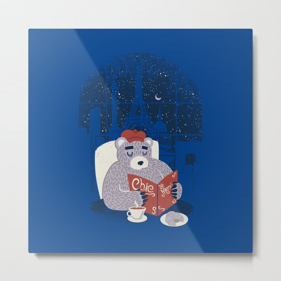 Parisian Bear Metal Print