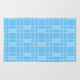 Turquoise Squares and Dots Rug