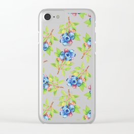 Wild Blueberry Sprigs Clear iPhone Case