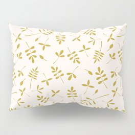 Gold Leaves Design on Cream Pillow Sham