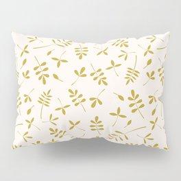 Gold Leaves Design on Cream Pillow Sham